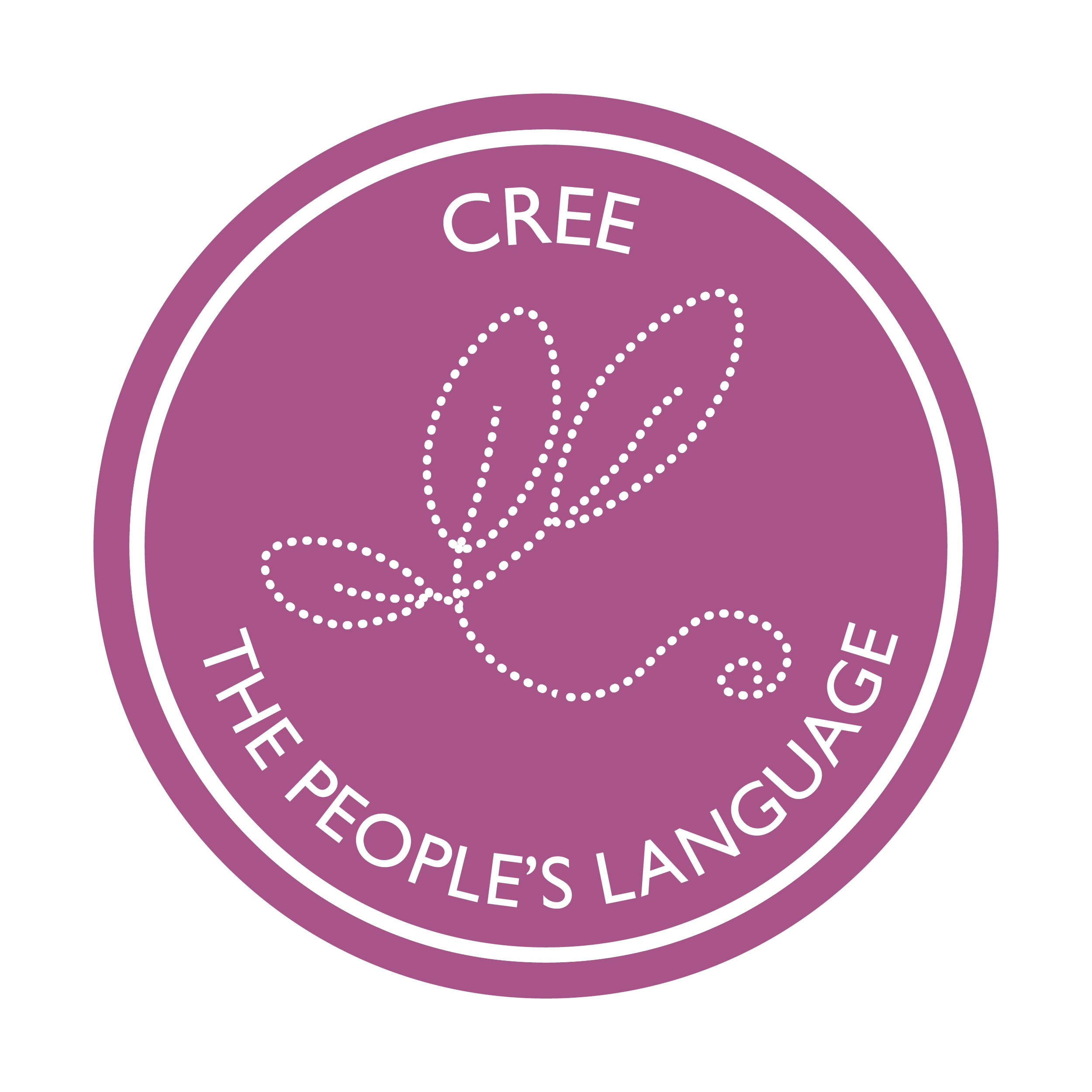 Purple circle logo with white stitching in the shape of plant leaves and white text saying Cree The People's Language